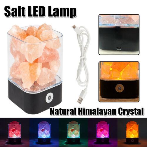 Touch USB Himalayan Salt Lamp Rock Natural Crystal Night Light Air Purifier Tool