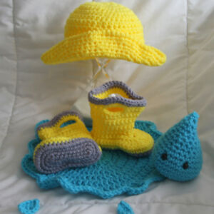 Newborn Rain Hat, Boots, Puddle, Stuffie Raindrop - Fisherman Ha