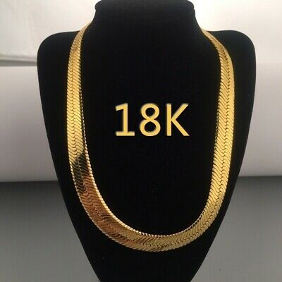 18K Yellow Gold Plated 316L Stainless Steel Herringbone Snake Link Necklace 18