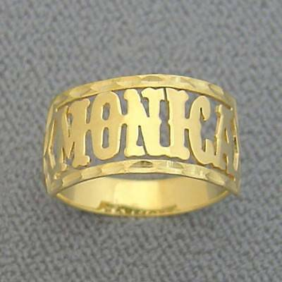 10K Solid Gold Personalized Western Style Font Name Band Ring Fine Jewelry NR04 10k Personalized Name Ring