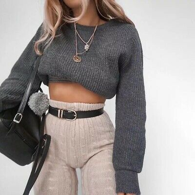 Winter Fall Solid Grey Long Sleeve Ribbed Knit Crop Top Sweater Cropped Long Sleeve Sweater