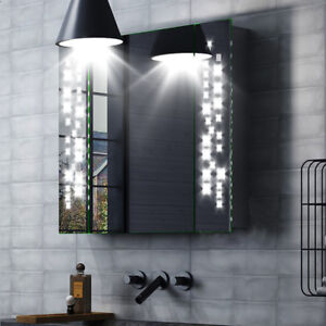 Illuminated LED Bathroom Glass Mirror Cabinet with Shaver Socket Motion Sensor