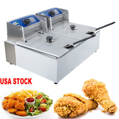 5000W 11L Dual Tanks Deep Fryer Commercial Tabletop French Fry Electric