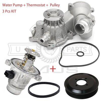 Water Pump + Gasket + Thermostat + Pulley Kit for BMW 550i 650i 750i 750Li 3pcs