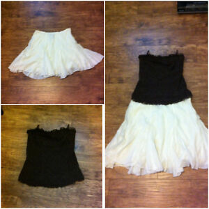 Worn once. Le Chateau flutter skirt and strapless lace top
