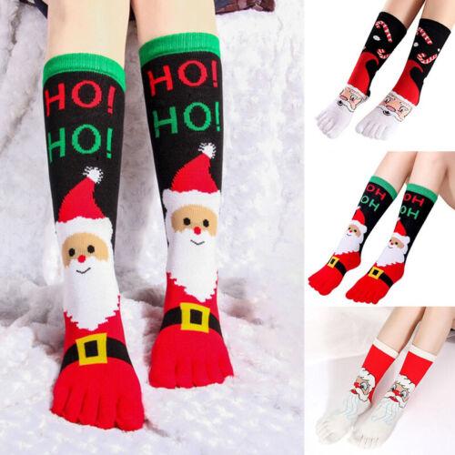 Women Men Christmas Cotton Socks Five Finger Toe Funny Long