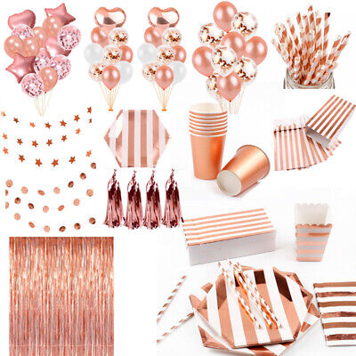 Rose Gold Wedding Tableware Set Tablecloth Kids Birthday Party Decor Supplies ()