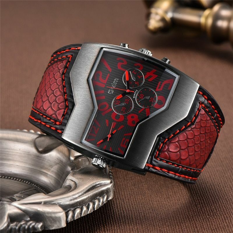 Herren Armbanduhren Breiter Ring Zwei Zeitzone Armbanduhr Pu-Leder Antik Vintage