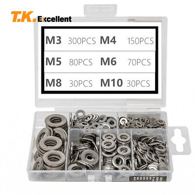 Flat Washer 304 Stainless Steel Washers Assortment Set Value Kit660 Pieces