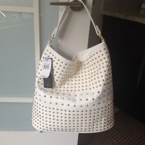 NEW: Ladies white and gold hand bag