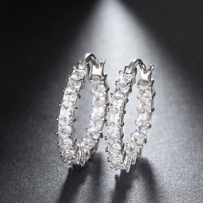 Fashion Womens Silver Plated Hoop Huggie Loop Earrings Crystal CZ Stud Earrings (Quartz Loop Earrings)