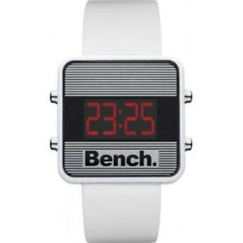 Bench White Rubber Strap Red LCD Watch BC0417WH