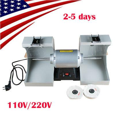 Usa Dental Polishing Bench Lathe Machine Burnishing Casting Double Hoods 3000rpm