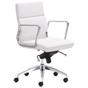 Zuo Engineer Leatherette Manager Executive Chair - White New