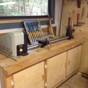 Wood Lathe, Tools and Bench Cabinet