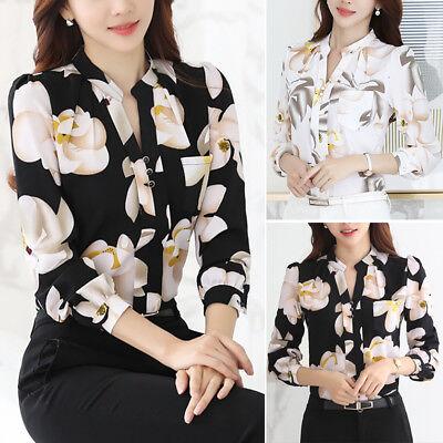 Fashion Women Ladies Casual Chiffon T Shirt Floral Print Long Sleeve Blouse Tops (Fashion Women Casual Chiffon)