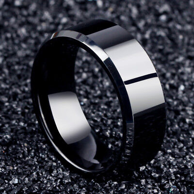 Titanium Wedding Ring (Men Black Titanium Stainless Ring Wedding Lover Couple Rings For Women Size)