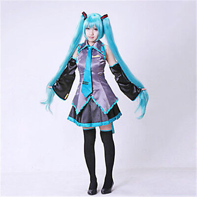Anime Hatsune Miku VOCALOID Cosplay Costume Wig Tops Dress Tie Complete Outfit  - Anime Outfit