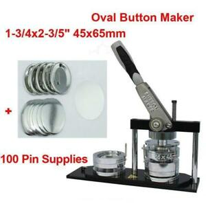 ALL METAL DIY Button maker kit!! 65*45mm  Badge Button Maker+ 100 Pin back Button 015360