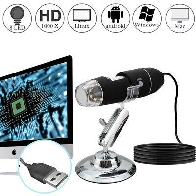 10x-1000x 8 Led Digital Microscope Camera Handheld Usb Magnification Endoscope