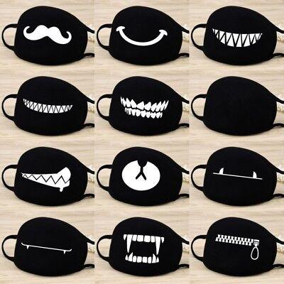 Women Men Cotton Face Masks Pattern Solid Black Mask Half Face Mouth - Men Masks
