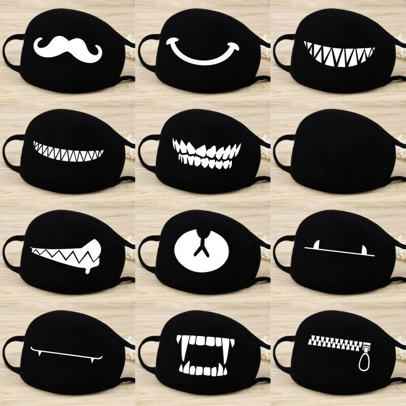 Women Men Cotton Face Masks Pattern Solid Black Mask Half Fa