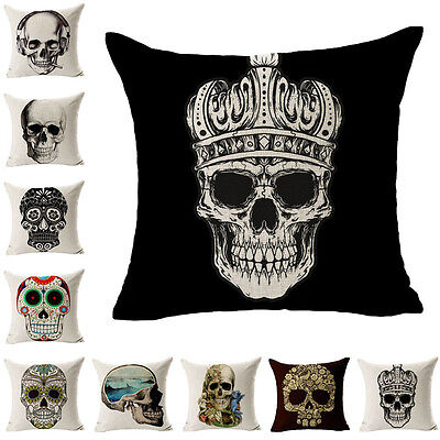 New Hot Linen Cushion Covers Skull Printed For Sofa Decor Throw Pillow Case