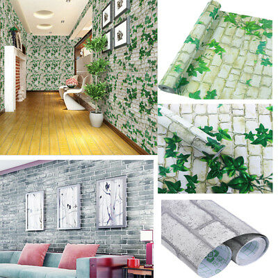 Brick Paper (3D Stone Picture Brick Wall Paper Sticker Kitchen Bathroom Home Waterproof)
