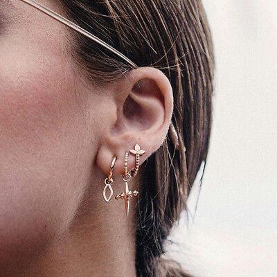 (3Pcs/Set Cross Dangle Wave Round Ear Stud Earrings Women Punk Jewelry Convenient)