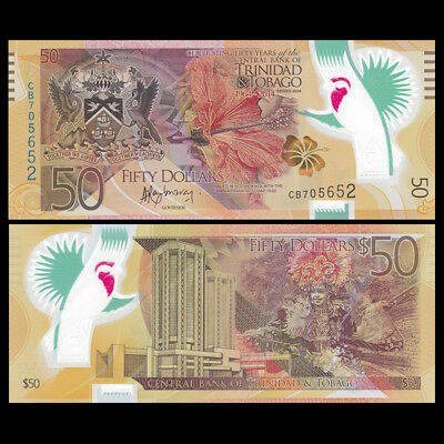 Trinidad and Tobago 50 Dollars, 2014, P-54, Polymer, UNC>Commemorative