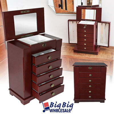 Wooden Jewelry Treasure Amoire Storage Cabinet Organizer Case Drawer W/ Mirror For Sale - 2