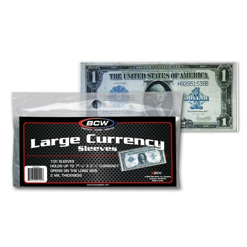 FOR U.S 500 CURRENCY SOFT POLY SLEEVES BILLS  W//FREE SHIPPING 2 MIL THICK