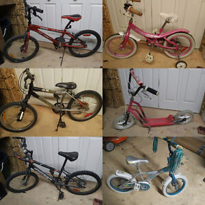 Various children bikes and scooter