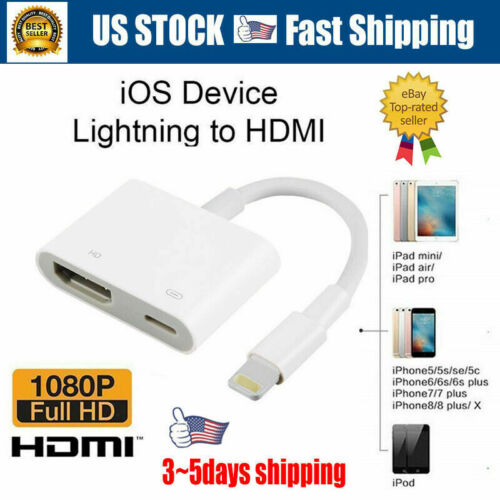 1080P Lightning To HDMI Digital AV TV Cable Adapter For iPad iPhone Xs MAX XR X A/V Cables & Adapters