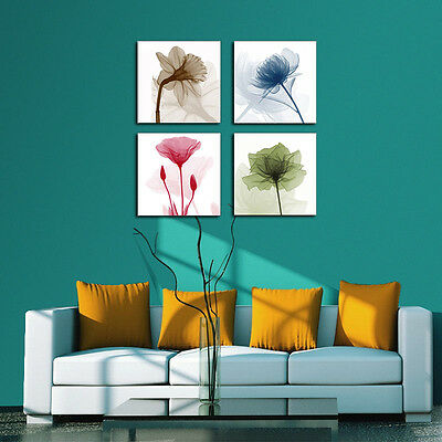 Abstract Painting Picture Canvas Print Wall Art Home Decor 4 Color Flower Framed