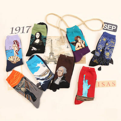 Unisex Retro Painting Art Printed Literature Creative Funny Novelty Starry Socks