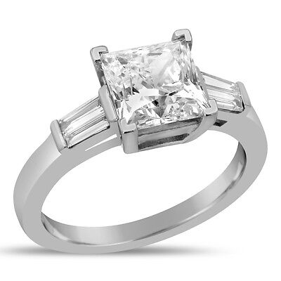 2.90CTW PRINCESS CUT & TAPERED BAGUETTE CUT DIAMOND ENGAGEMENT RING P3 Princess Cut Tapered Baguettes