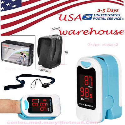 Led Finger Tip Pulse Oximeter Spo2 Pr Blood Oxygen Monitor Pouch Care Healthy.
