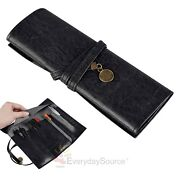 Black Leather Pencil Case