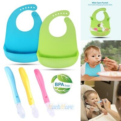 2PCS 100% Food-graded Silicone Soft Baby Bibs+3PCS Teething Friendly Baby Spoons ()
