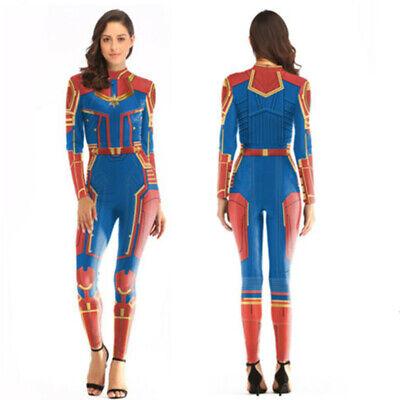 Captain Marvel Carol Danvers Tights Superhero Cosplay Costume Zentai Bodysuit - Caroling Costumes