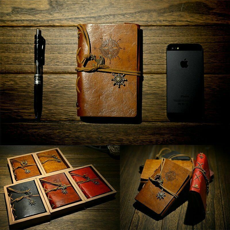 A6 Classic Retro Leather Journal Travel Notepad Notebook Bla
