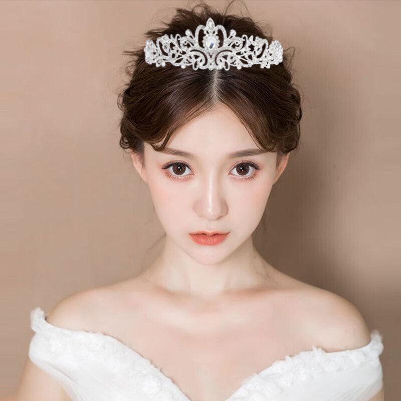 Lot Wedding Bridal Princess Crystal Prom Hair Tiara Crown Veil
