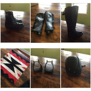 Various Western and English Riding Tack, Clothing, Boots, etc