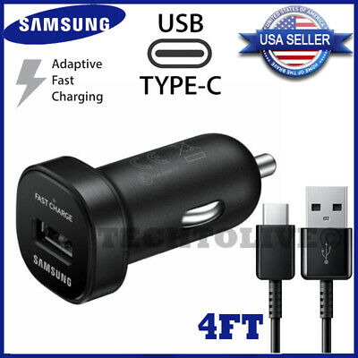 Original Samsung Galaxy Note9 S8 S9 S10 Plus Fast Car Charger + 4FT Type-C Cable