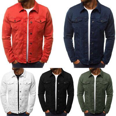 - Men's Coat Denim Jacket Jean Cargo Cowboy Lapel Single Breasted Casual Outerwear