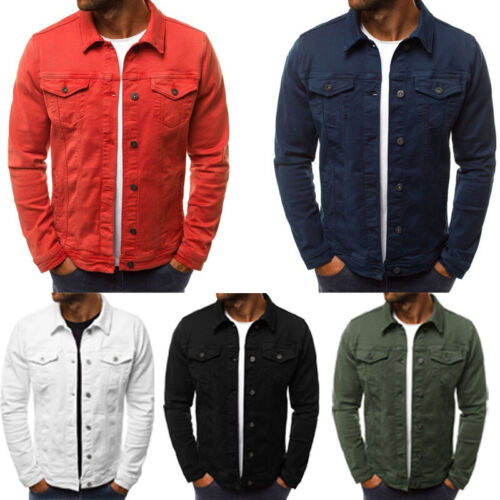 Men's Coat Denim Jacket Jean Cargo Cowboy Lapel Single Breas