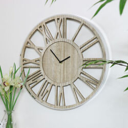 Wall mounted wooden skeleton clock silver frame Roman numeral display home decor