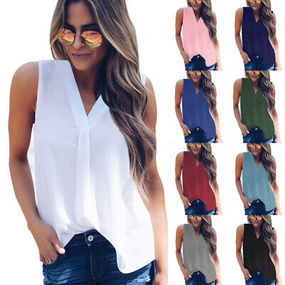 Womens Summer Chiffon Tank Top Plus Size Vest T Shirt Casual Loose Tops Blouse (Woman Shirts)