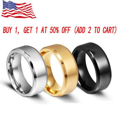 8MM Stainless Steel Ring Band Titanium Black Men's SZ 6 to 12 Wedding Rings Man